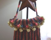 Chocolate Rose Knitted Striped Shoulder Bag with Shipping Included