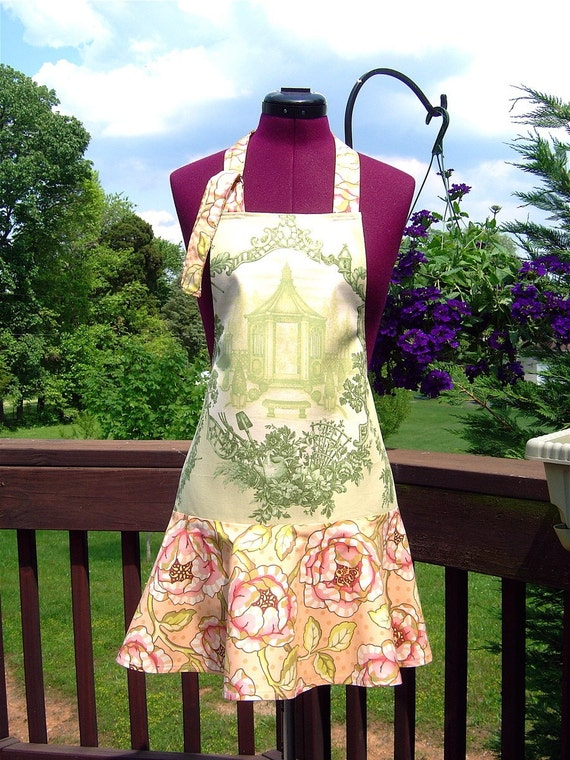 Green Toile Hostess Apron with Free Shipping