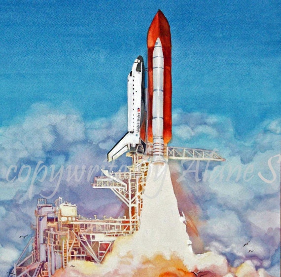 Watercolor print of space shuttle