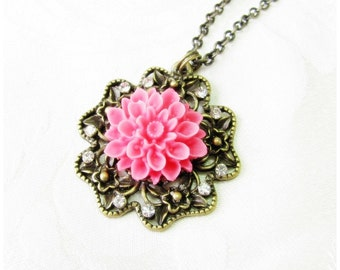 Flower Necklace, Pink Flower with Crystal Rhinestones, Blossom Pendant