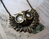 Antique Bronze Owl Pendant Necklace accented with Swarovski Crystals