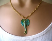 Verdigris Patina Brass Elephant Pendant Necklace