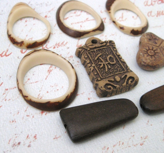 Pendant MIX 004 (8) Ceramic, Wood, TAGUA Nut ECO-Friendly in Browns, Tribal