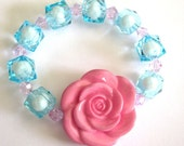 SALE SPRING CLEANING - Pink Carved Rose - Light Blue Clear and Pink Bicone Crystals Bracelet