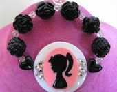 Barbie Silhouette Cameo Bracelet Stretch Swarovski Crystals Black Roses and Hearts