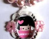 SALE SPRING CLEANING - Kokeshi Cuties Collection - Megumi - Pendant and Faux Pink Pearl Swarovski Crystal Bicone