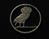 1973 Greece Cut Coin Pendant w/ Athenian Owl