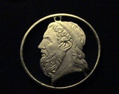 Greece - cut coin pendant - w/ Homer, Ancient Author or Iliad and Odyssey - 2000