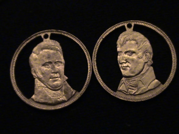 SET of 2 - Lewis and Clark - cut coin pendants - from 1970 Franklin Mint set RUGGED AMERICANS
