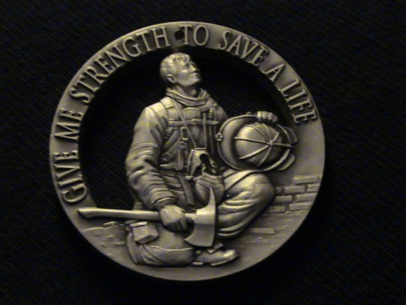 Bronze Medallion - cut coin jewelry - w/ Firefighter