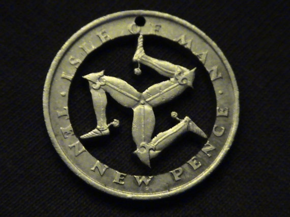 Isle of Man - cut coin pendant - w/  Triskelion - 1975