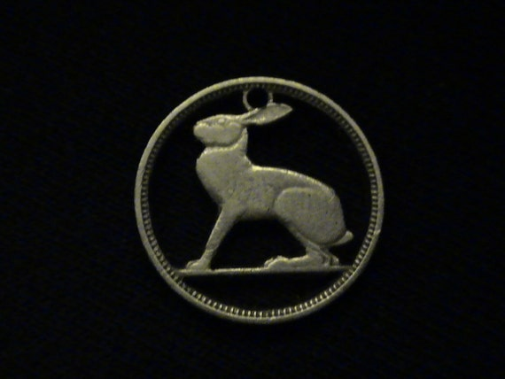 Ireland - cut coin pendant - w/ Rabbit / Hare - 1950