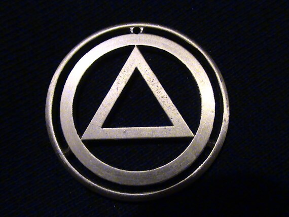AA Alcoholics Anonymous Bronze Token - cut coin pendant  - w/ Pyramid and circle