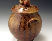 Red Oak Jar With Hand-Carved Weave-Pattern Base
