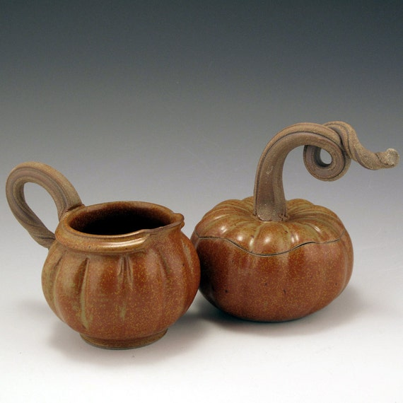 Pottery, Handmade, Pumpkin, Cream and Sugar Set FREE SHIPPING