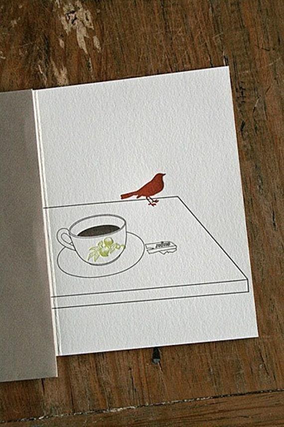bird letterpress notecard set