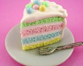 Springtime Soft Pastel Rainbow Cake Slice - Polymer Clay Miniature Food - Pendant / Necklace