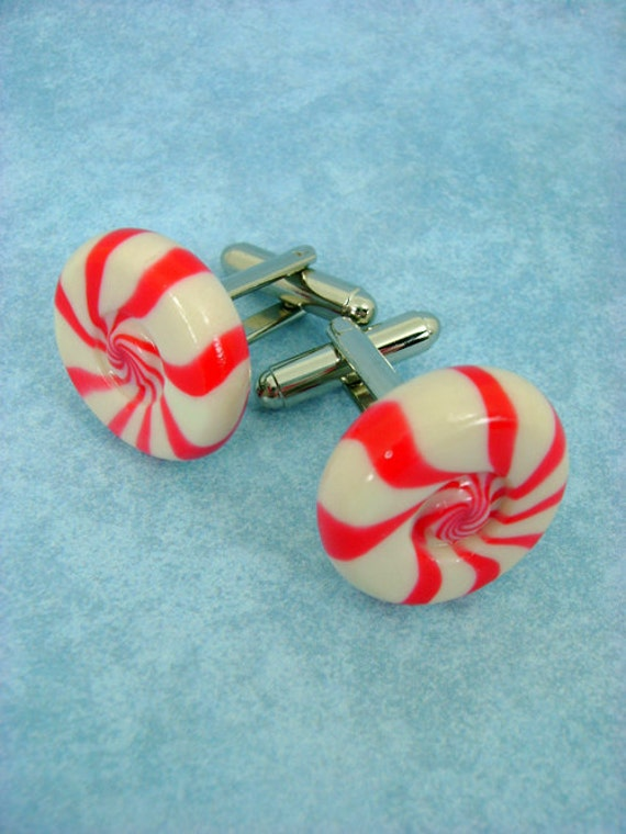 Peppermint Swirl / Strawberry-Vanilla Swirl Hard Candy Cufflinks