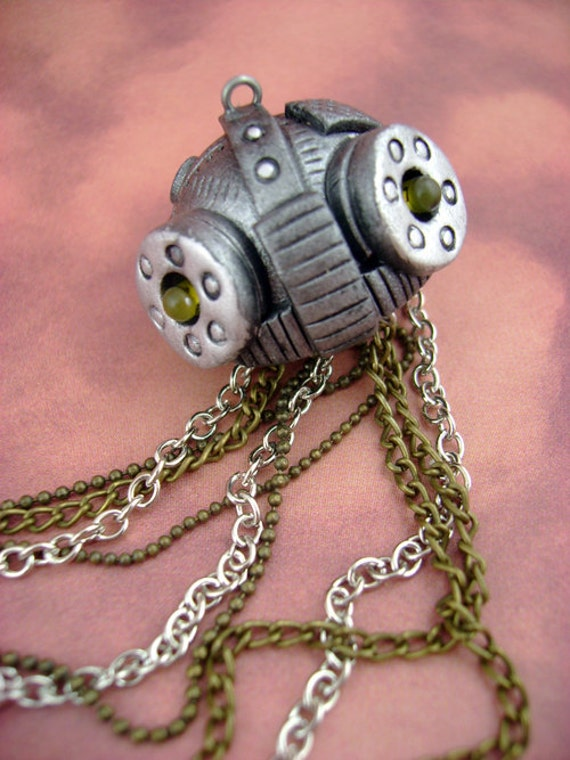 Dark Aquatic Mechanical Jellyfish - YELLOW LED Eyes - Small - Necklace