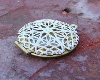 filigree locket, charm finding, SHABBY white filigree brass locket 1 pc, round locket