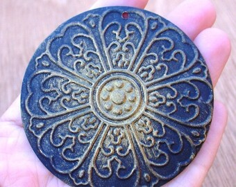Ethnic pendant, large round pendant XENA black and gold hand painted large focal 1 pc