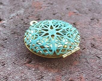 Locket focal, brass filigree locket VERDIGRIS patina 1 pc, brass pendant charm finding, jewelry making finding