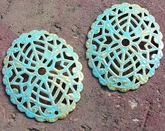 jewelry findings, earring component, gold connector VERDIGRIS gold oval filigree 2 pcs