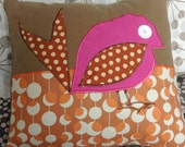 Double Vision Pillow - brown with pink bird