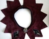 Vintage Burgundy Suede Pixie Collar