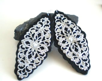 Black Felt and Silver Filigree Flower Earrings (Large)