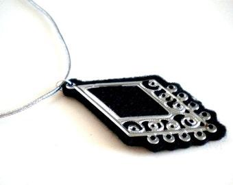 Black Felt and Silver Filigree Necklace