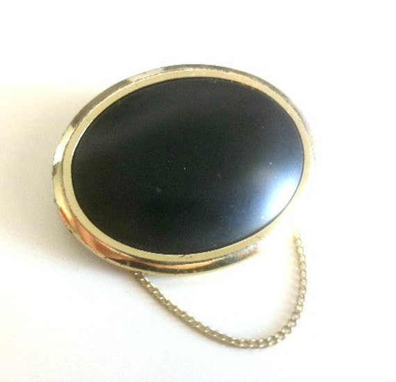 Vintage Black and Gold Oval Brooch with Chain