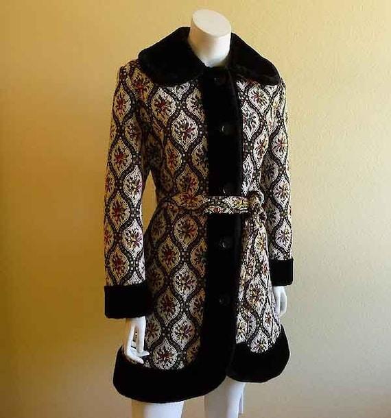 Vintage 60's Mod Tapestry Faux Fur Trim Coat