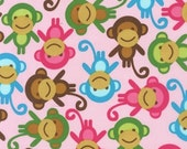 Three (3) Yards - Monkeys on Pink Urban Zoologie AAK-11505-192 Spring