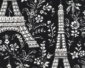 One (1) Yard - Black Eiffel Tower Fabric Michael Miller CX1248 Ebony