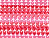 One (1) Yard- Heart Strings in Pink and Red Fabric on White by Michael Miller CX5193-Pink