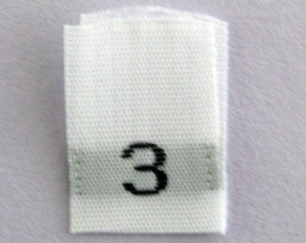 Size 3 (Three) Woven Clothing Size Tags (Package of 50)
