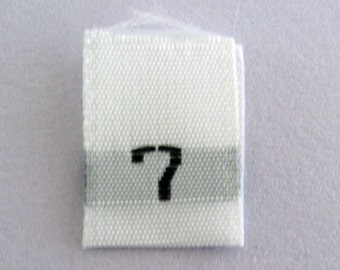 Size 7 (Seven) Woven Clothing Size Tags (Package of 50)