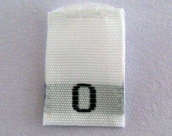 Size 0 (Zero) Woven Clothing Size Tags (Package of 250)