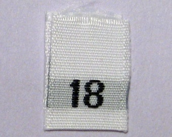 Size 18  (Eighteen) Woven Clothing Size Tags (Package of 100)