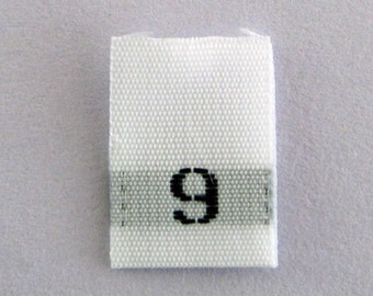Size 9 (Nine) Woven Clothing Size Tags (Package of 50)