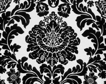 Fat Quarter - Black Ebony Delovely Damask Fabric By Michael Miller