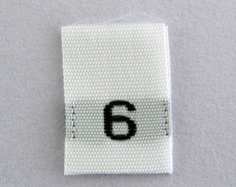 Size 6 (Six) Woven Clothing Size Tags (Package of 500)