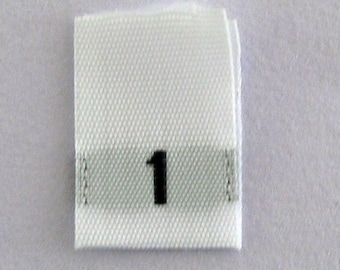 Size 1 (One) Woven Clothing Size Tags (Package of 100)
