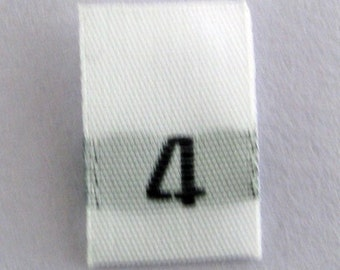 Size 4 (Four) Woven Clothing Size Tags (Package of 100)