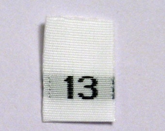 Size 13 (Thirteen) Woven Clothing Size Tags (Package of 50)