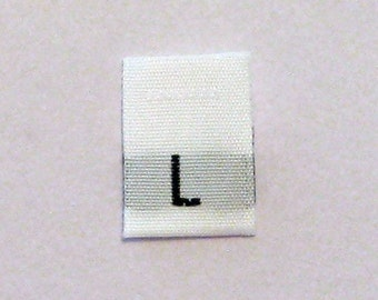 Size L (Large) Woven Clothing Size Tags (Package of 50)