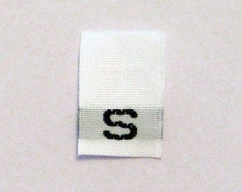 Size S (Small) Woven Clothing Size Tags (Package of 50)