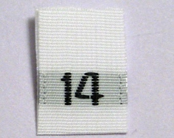 Size 14 (Fourteen) Woven Clothing Size Tags (Package of 50)