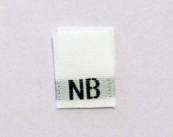 Size NB (Newborn) Woven Clothing Size Tags (Package of 1000)